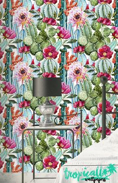Watercolor Cactus Wallpaper - Removable Wallpapers - Floral Cactus Plant Wallpaper - Self Adhesive Wall Decal - Temporary Peel and Stick How To Hang Wallpaper, Plant Wallpaper, Wallpaper Panels, Peel And Stick Wallpaper, Cement Walls, Watercolor Cactus, Traditional Wallpaper, Wall Spaces, Cactus Plants