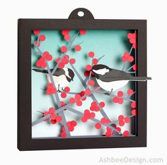 DIY Free printable and instructions Ashbee Design Silhouette Projects: 3D Crocus in Snow Shadow Box