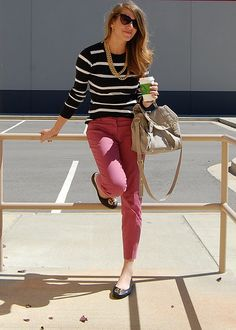 Pink pants and stripes!