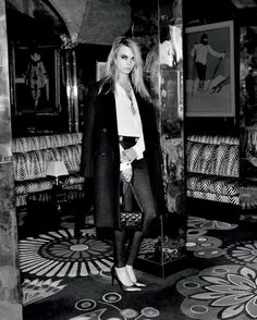 Cara Delevinge looks chic and tailored in a masculine trench coat, with a white button up tucked into trousers // Cara Delevingne Topshop Holiday Campaign