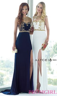 Illusion Sweetheart Formal Dress by Alyce at PromGirl.com (the blue one)