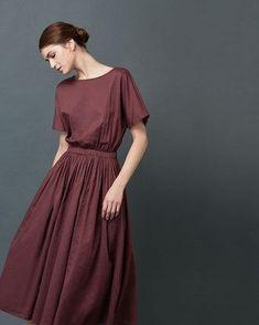 Women's Cotton Sateen Waisted Dress