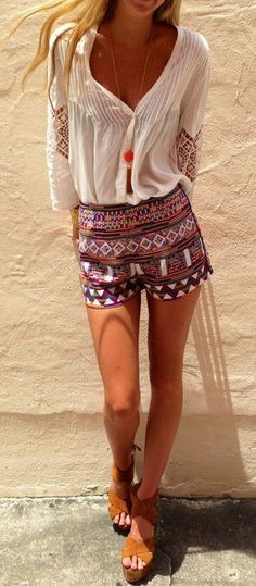 Multicolor Geometric Print Elastic Waist Slim Fashion Dacron Shorts