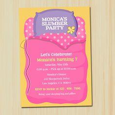 photos of slumber party invites | Girl Slumber Party Invitation | partytimedecor - Cards on ArtFire