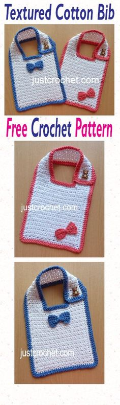 Free baby crochet pattern for textued cotton bib.