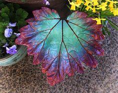 Decorative cement leaf in teal majenta and copper por StudioJLK