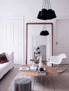 living room, eames rocker chair