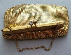 1940s Duramesh Gold Metal Mesh Evening Purse Unusual Opening