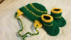 Crocheted Green and Yellow Hat with Boots, John Deer Cap and Booties, Lightweight Hat, Baby Sports Gift Set, Team Color Baby Beanie and Shoe by irisbearyspecial on Etsy