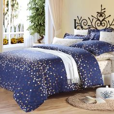 Navy Blue Brown And White Polka Dot Design In The Night Scene Cotton Full Queen Size Bedding Bed Sheet Sets
