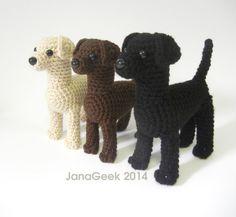 Labrador Puppy Dog Amigurumi Crochet Pattern by JanaGeek on Etsy Labrador Noir, Labrador Puppies, Labrador Retrievers, Retriever Puppy, Dogs And Puppies, Crochet Dog Patterns, Crochet Designs, Stuffed Animal Patterns, Dinosaur Stuffed Animal