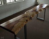 Live Edge Redwood Console Table // Handmade Steel Trapezoid Legs