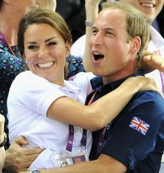 Prince William & Kate Middleton Hug it out During London Olympics Track Cycling Race. this is so adorable