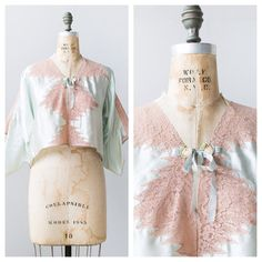 vintage 1930s silk bed jacket / 30s pink lace bed by adoredvintage
