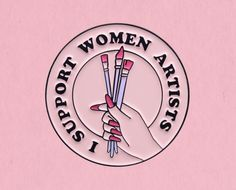 """Show your support for womenartists (like me!) with this lapel pin 1.25"""" soft enamel ironmetal Add any 4+ pins, patches, or buttons to your cart and get one of them for free with coupon codeYAYFLAIR Got 1, Anniversary Sale, Lapel Pins, All Design, Cart, Patches, Enamel, Greeting Cards, Coding"""