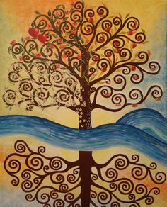 """Original Acrylic Abstract Painting, Stretched Canvas 16"""" x 20"""", Trees, Tree of Life, River of Life, Four Seasons, Childhood, Youth, Maturity, Old Age.  """"What lies behind us and what lies before u..."""