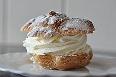 Ingredients ½ cup flour ½ cup water 3 tablespoons unsalted butter, cubed pinch of salt pinch of sugar 2 eggs Whipped cream for filling Confectioners' sugar to dust Preheat oven to 350°F. Prepare cookie sheet with Silpat. To make the dough: Sift the flour. Place the water, butter, salt, and sugar in a saucepan. Heat … Continue reading Cream Puffs →