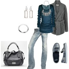 cardigans and comfy shoes. Love the jeans.