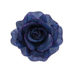 Navy Glitter Rose Hair Clip