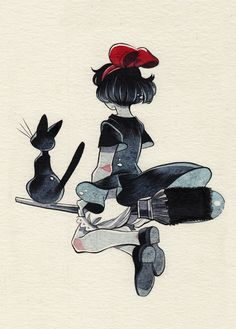 Kiki's Delivery Service fan-art (Inktober day 9) by Allie: do art