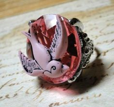 chunky cocktail PINK stone ring with tattoo by LicoriceJewelry, $23.00