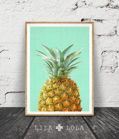 Pineapple Print, Tropical Wall Art Decor, Colourful, Fruit, Printable Instant Download, Modern Minimal, Aqua Mint Green Yellow, Poster