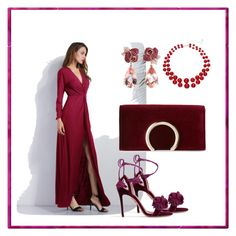 A fashion look from October 2017 featuring low v neck dress, open toe sandals and faux-leather handbags. Sexy Gifts, Jessica Mcclintock, Aquazzura, Fashion Ideas, My Style, Polyvore, Image