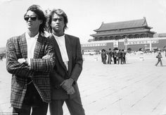 George Michael and Andrew Ridgley from the pop group Wham! posed for a photograph during a visit to China in the 1980s