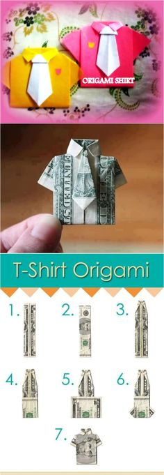 How to Make Cute DIY T-Shirt Origami. This would be a cute F-How to Make Cute DIY T-Shirt Origami. This would be a cute Father's Day gift! How to Make Cute DIY T-Shirt Origami. This would be a cute Father's Day gift! Diy Origami, Origami Shirt, Origami And Kirigami, Money Origami, Origami Tutorial, Origami Paper, Diy Paper, Paper Art, Paper Crafts