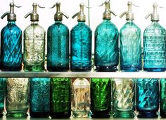 Vintage seltzer bottles #bohemian #Boho #gypsy #antique #turquoise #teal #glass #decor #blue