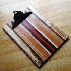 Handmade Striped Wooden Clipboard