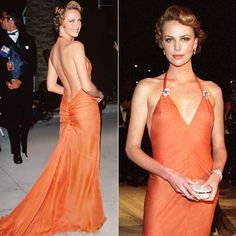 Charlize Theron in orange backless dress with vintage dress clips. Favorite dress still.