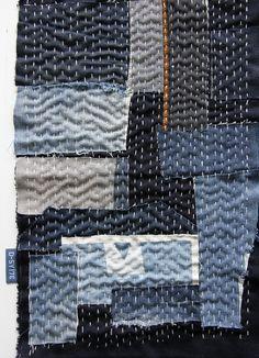 ...reused denim and cotton canvas with sashiko... #reuseddenim #canvas #denim…