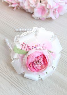 Krem pembe şakayık güllü dantel çiçek süslemeli taç Minilola Anne, Bebek, Çocuk Ürünleri