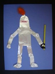 This knight collage is an easy and fun craft made with aluminum foil and other basic craft materials. Kids will … This knight collage is an easy and fun craft made with aluminum foil and other basic craft materials. Kids will … Fun Crafts For Kids, Preschool Crafts, Crafts To Make, Art For Kids, Arts And Crafts, Family Crafts, Fairy Tale Crafts, Fairy Tale Theme, Fairy Tales