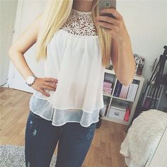 Buy Fancyinn™ Summer Sexy Blusas Femininas White O-neck Flower Lace Chiffon Sleeveless Women Blouse Tank Top at Wish - Shopping Made Fun White Chiffon, Sheer Chiffon, Chiffon Shirt, White Lace, Chiffon Blouses, Shirt Blouses, White White, White Tops, Sleeveless Blouse