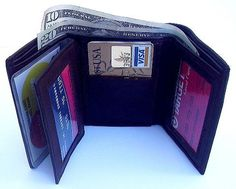 """A Classic Wallet! * Finest Quality, soft and elegant, Genuine Lambskin Leather; * Sturdy construction, but Compact and Lightweight (about 3 ounces); * Tri-fold; 9 Credit Card slots; 4-window insert for pictures, etc; * Two Double Stitched Driver's License windows; 2 separated bill compartments. * Measures 4 1/4 x 3 x 3/4"""" empty. * Color: Dark Chocolate Brown"""