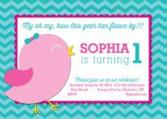 bird themed birthday party invitation | Bird 1st Birthday Party Invitation