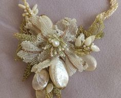 Freeform beaded jewelry with white pearls