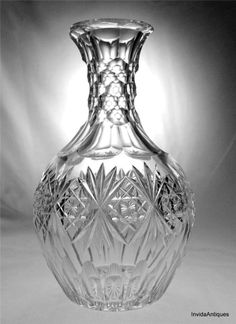 Antique Fine ABP Brilliant Cut Glass Signed Hawkes Florence Carafe Decanter 9""