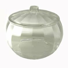 Clear Candy Jar with Lid by Huang Acrylics by Huang. $19.75. Suitable for the office desk, the living room coffee table or kitchen.. 4 inch tall by 6 inch diameter. Crystal clear paneled design has the elegance of glass without the risk of breakage.. Quart size covered bowl for many uses.. Comes in gift box. This fine covered melon-shaped  bowl is so clear with fine optics,  you'll struggle to see that it isn't  glass.  For use as a covered salad bowl, candy dish, or for many ot...
