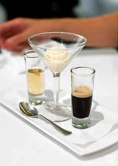 "An AFFOGATO is a traditional Italian espresso-based treat that you'll find on the menu at many Italian restaurants, as well as at many cafes serving espresso and other coffee drinks. The full name is really ""affogato al cafe"" or ""drowned in coffee,"" in Italian. The name really suits the dessert, as it consists of a scoop of ice cream/gelato with a shot of hot espresso poured over the top.:"