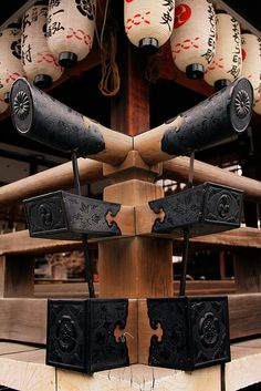 Temple Detail with Lanterns Kyoto Japan