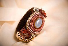 Мoonstone bracelet Japanese beads velvet ribbon by BijouVarni, $59.99