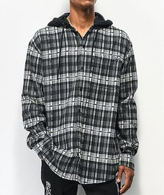 Don't risk a bad outfit, be sure to grab the Risk It All black hooded flannel shirt from Broken Promises. This long sleeve flannel shirt comes in a black and white plaid flannel construction with graphics of barbed wire throughout for an eye-catching look Flannel Shirt Outfit, Sweatshirt Outfit, Hooded Flannel, Plaid Flannel, Flannel Friday, Broken Promises, Black Friday Shopping, White Plaid, All Black