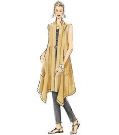 Vogue Patterns Sewing Pattern Misses' Banded Coat and Vest Vest Coat, Denim And Lace, Blue Denim, Vogue Patterns, Dress Sewing Patterns, Vintage Sewing Patterns, Paper Patterns, Stylish Coat, Diy Couture