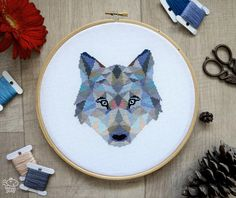 Cross Stitch Pattern Wolf Geometric Animals Cross Stitch