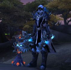 DK blue plate xmog. Great for them frosties! See, even Lil KT thinks so... Love the skull helm/gloves. Possible substitution for guild tabard- August Celest or  Frostwolf?