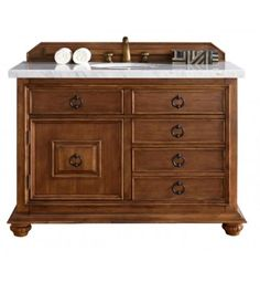 "James Martin 555-V48-CIN Mykonos 48"" Single Bathroom Vanity with Drawers in Cinnamon Finish"