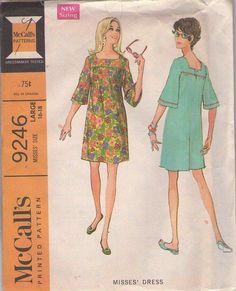 Mccalls Sewing Patterns, Vintage Sewing Patterns, Clothing Patterns, Bell Sleeve Dress, Bell Sleeves, Robes Vintage, Pattern Illustration, Party Fashion, Beautiful Patterns